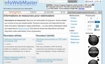 Design de la V3 de InfoWebMaster (2011)
