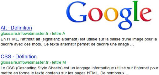 Exemple de snippets lors d'une recherche Google