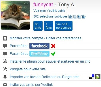 Menu dutilisateur sur Yoolink