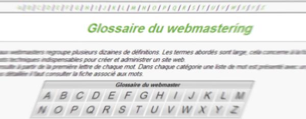Capture décran du glossaire pour webmaster