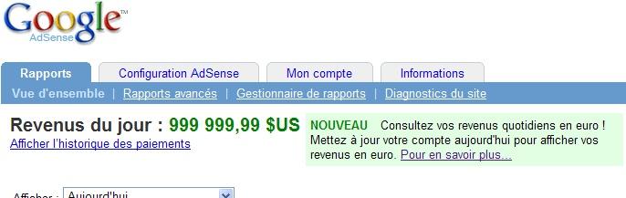 Rapport Google AdSense journalier en dollars