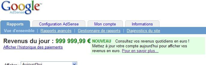 Rapport Google AdSense en euros
