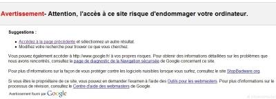 Page affiché par Google lors dun clique sur un lien