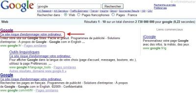 Bug des résultats de recherche sur Google