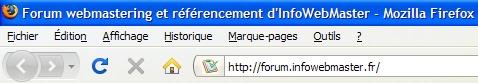 Aperçu de la nouvelle adresse du forum sur Firefox
