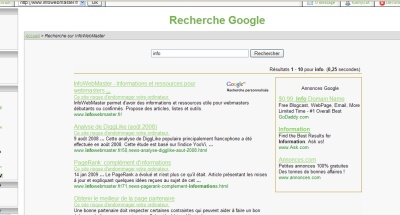 Bug du moteur de recherche fournit par Google