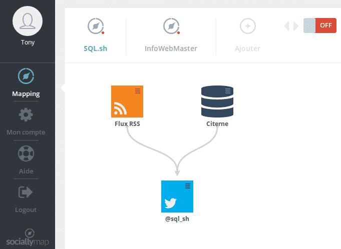 Aperçu de l'interface utilisateur de Sociallymap
